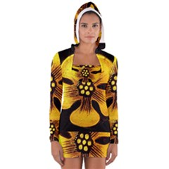 Yellow Flower Stained Glass Colorful Glass Women s Long Sleeve Hooded T-shirt