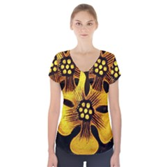 Yellow Flower Stained Glass Colorful Glass Short Sleeve Front Detail Top