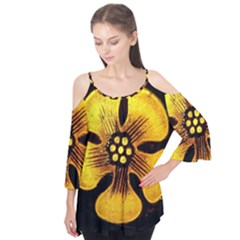 Yellow Flower Stained Glass Colorful Glass Flutter Tees
