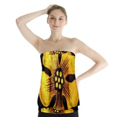Yellow Flower Stained Glass Colorful Glass Strapless Top