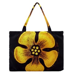 Yellow Flower Stained Glass Colorful Glass Medium Zipper Tote Bag