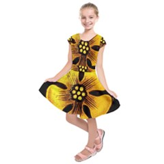 Yellow Flower Stained Glass Colorful Glass Kids  Short Sleeve Dress
