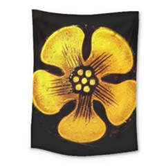 Yellow Flower Stained Glass Colorful Glass Medium Tapestry