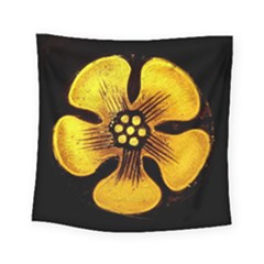Yellow Flower Stained Glass Colorful Glass Square Tapestry (Small)
