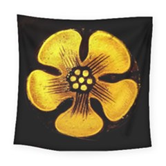 Yellow Flower Stained Glass Colorful Glass Square Tapestry (large)