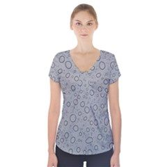Water Glass Pattern Drops Wet Short Sleeve Front Detail Top