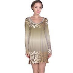 Floral Decoration Long Sleeve Nightdress
