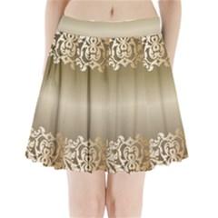 Floral Decoration Pleated Mini Skirt