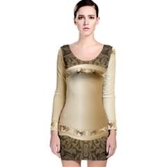 Floral Long Sleeve Velvet Bodycon Dress