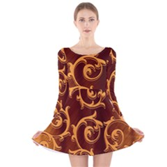 Floral Vintage Long Sleeve Velvet Skater Dress