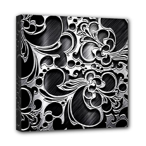 Floral High Contrast Pattern Mini Canvas 8  x 8