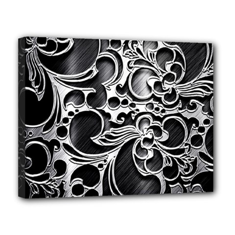 Floral High Contrast Pattern Canvas 14  x 11