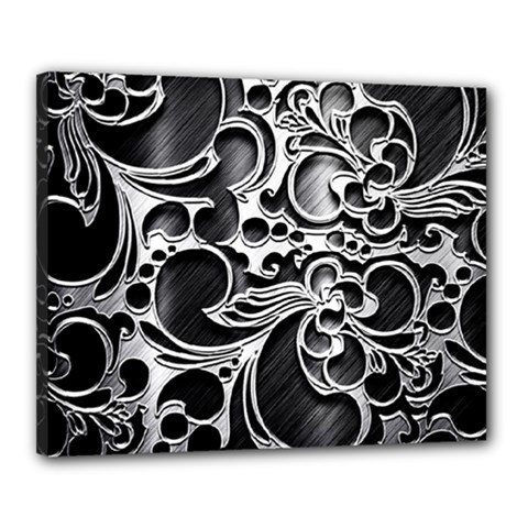 Floral High Contrast Pattern Canvas 20  x 16