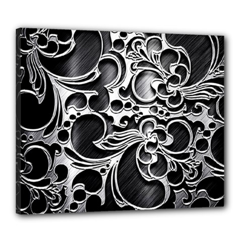 Floral High Contrast Pattern Canvas 24  x 20