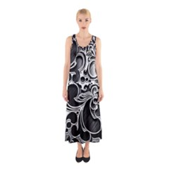 Floral High Contrast Pattern Sleeveless Maxi Dress