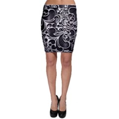 Floral High Contrast Pattern Bodycon Skirt