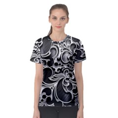 Floral High Contrast Pattern Women s Sport Mesh Tee