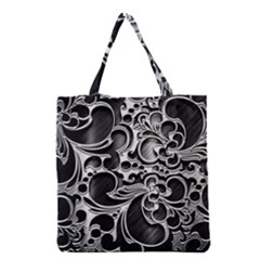 Floral High Contrast Pattern Grocery Tote Bag