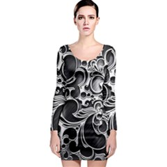 Floral High Contrast Pattern Long Sleeve Bodycon Dress