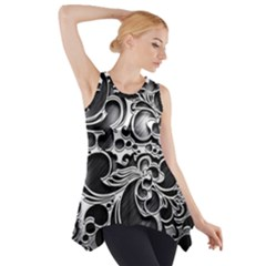 Floral High Contrast Pattern Side Drop Tank Tunic