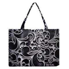 Floral High Contrast Pattern Medium Zipper Tote Bag