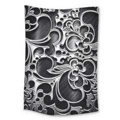Floral High Contrast Pattern Large Tapestry