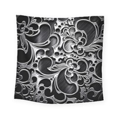 Floral High Contrast Pattern Square Tapestry (Small)