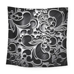 Floral High Contrast Pattern Square Tapestry (large)