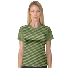 Mardi Gras Checker Boards Women s V-Neck Sport Mesh Tee