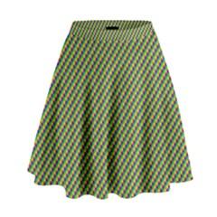 Mardi Gras Checker Boards High Waist Skirt