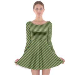 Mardi Gras Checker Boards Long Sleeve Skater Dress
