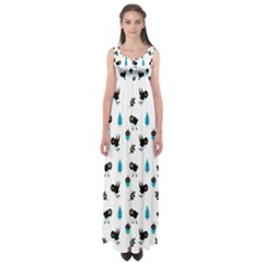 Bird Beans Leaf Black Blue Empire Waist Maxi Dress