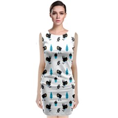 Bird Beans Leaf Black Blue Classic Sleeveless Midi Dress