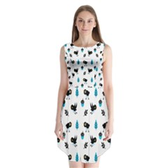 Bird Beans Leaf Black Blue Sleeveless Chiffon Dress
