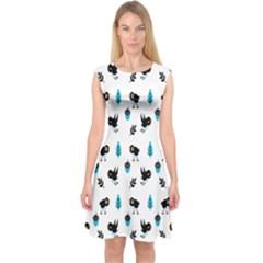 Bird Beans Leaf Black Blue Capsleeve Midi Dress