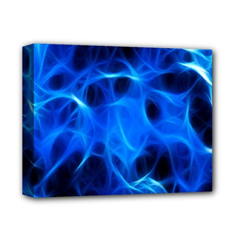 Blue Flame Light Black Deluxe Canvas 14  x 11