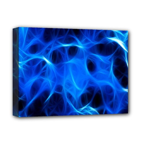 Blue Flame Light Black Deluxe Canvas 16  x 12