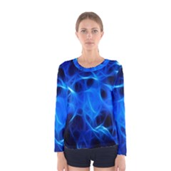 Blue Flame Light Black Women s Long Sleeve Tee