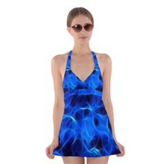 Blue Flame Light Black Halter Swimsuit Dress