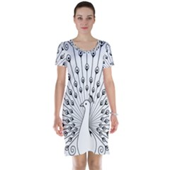 Bird Peacock Fan Animals Short Sleeve Nightdress