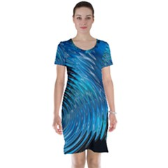 Waves Wave Water Blue Hole Black Short Sleeve Nightdress