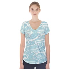 Blue Waves Short Sleeve Front Detail Top