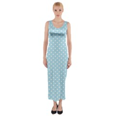 Circle Blue White Fitted Maxi Dress