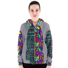 Emotional Rational Brain Women s Zipper Hoodie