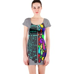 Emotional Rational Brain Short Sleeve Bodycon Dress