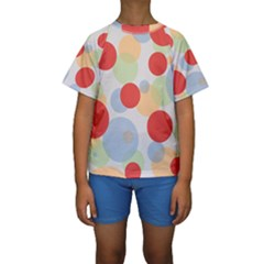 Contrast Analogous Colour Circle Red Green Orange Kids  Short Sleeve Swimwear