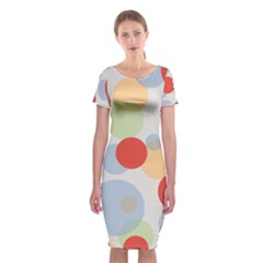 Contrast Analogous Colour Circle Red Green Orange Classic Short Sleeve Midi Dress