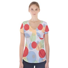Contrast Analogous Colour Circle Red Green Orange Short Sleeve Front Detail Top