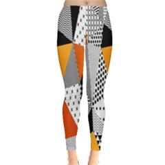 Contrast Hero Triangle Plaid Circle Wave Chevron Orange White Black Line Leggings
