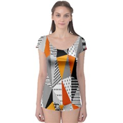 Contrast Hero Triangle Plaid Circle Wave Chevron Orange White Black Line Boyleg Leotard